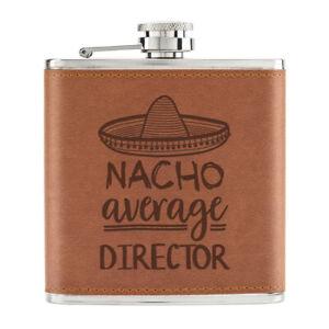 Nacho-Moyenne-Realisateur-170ml-Cuir-PU-Hip-Flasque-Fauve-Worlds-Best-Drole