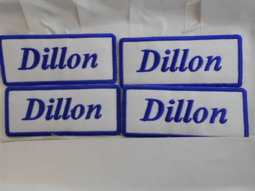 DILLON  NEW EMBROIDERED  SEW IRON ON NAME PATCH BLUE ON WHITE
