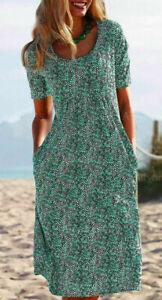 Women-039-s-Green-Polka-Dot-Round-Neck-Short-Sleeve-Casual-Lightweight-Dress-XL