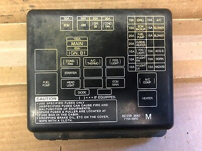 01 HONDA PASSPORT FUSE BOX LID COVER 3.2L | eBayeBay