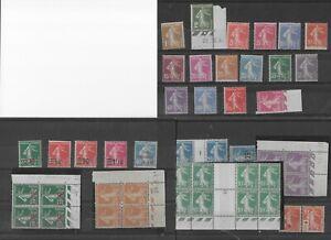 Un-lot-de-24-timbres-Type-SEMEUSE-fond-Plein-CD-Millesime-et-Surcharge