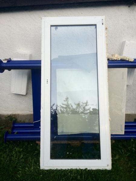 Balkontür Glas Kunststoff weiss 910mm x 2070mm DRK/rechts 4x vorh m Lüftungsauto