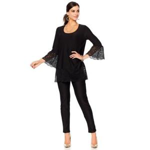 03685b00d13 Slinky Brand 2-piece Lace Trim Tunic & Pant Set Black Sz M/Petite ...