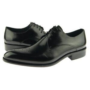 Carrucci Plain Medallion Derby Men's Dress Leather Oxford Shoes Black