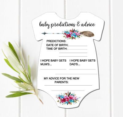 10 Kraft Brown Baby Shower Baby Predictions and Advice Cards PRINTED Jump Suit