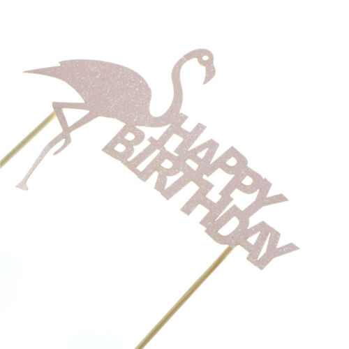 """flamingo /""""happy birthday/"""" cake cup toppers birthday decor kids party supplies  I"""