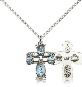 """.925 Sterling Silver Four Way Cross Necklace For Women On 18/"""" Chain 30 Day ..."""