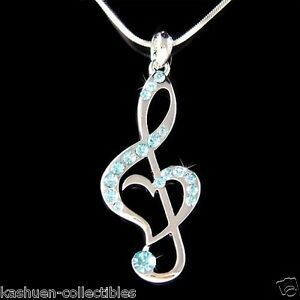 Blue w swarovski crystal treble g clef music musical note heart image is loading blue w swarovski crystal treble g clef music aloadofball Choice Image