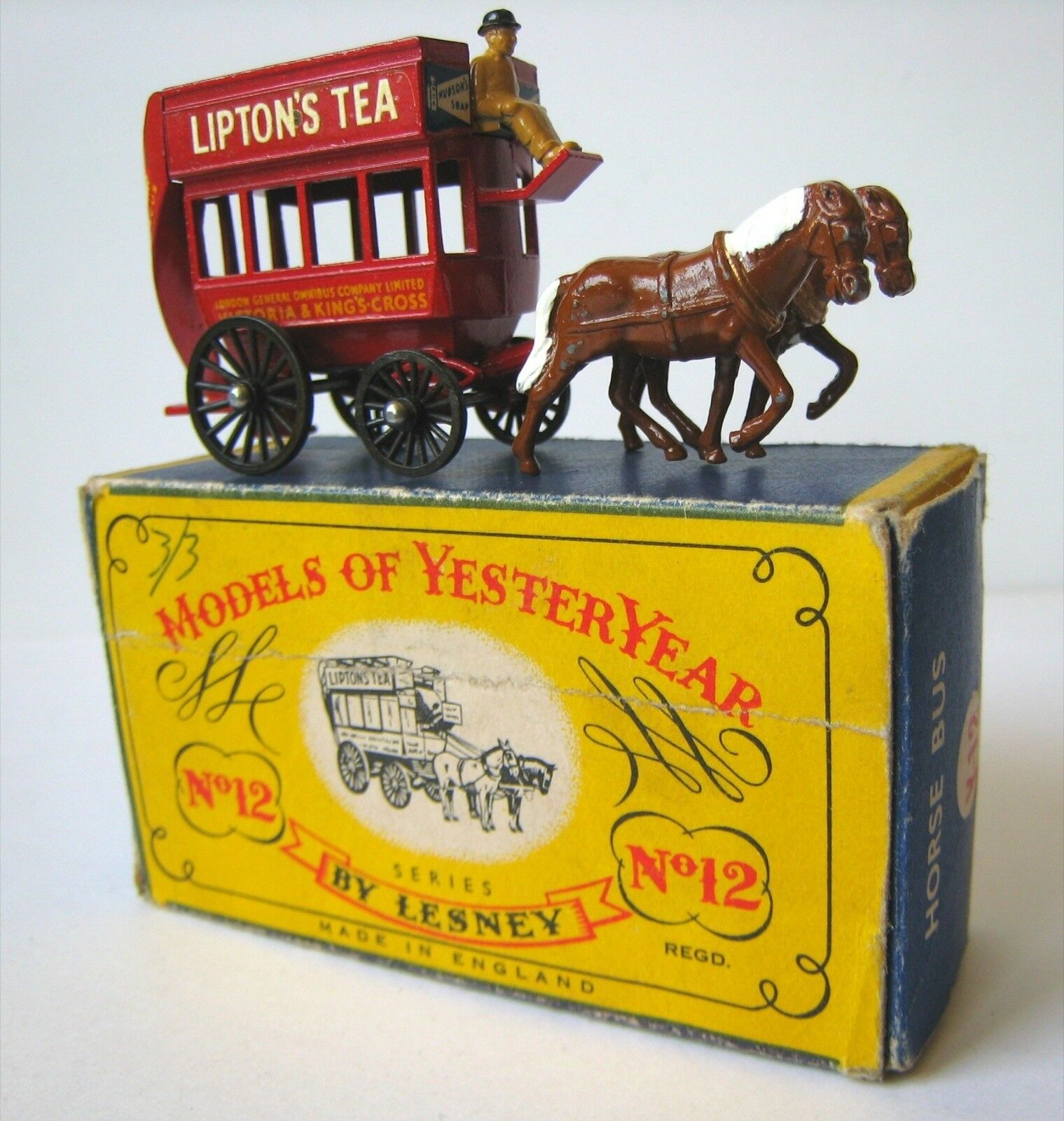 Matchbox/Lesney, Modell of Yesteryear, Y-12, London Horse Bus 1898, unbespielt,