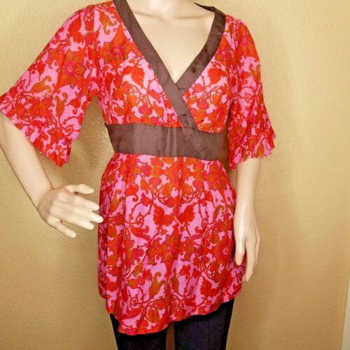 Anthropologie Odille kimono blouse v-neck pink bro