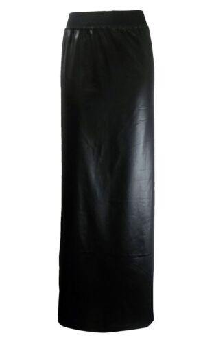 Womens PVC Wet Look Black Long Gypsy Maxi Skirt Ladies Faux Leather Shinny Skirt