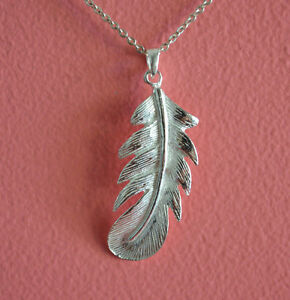 925-Sterling-Silver-Big-Feather-Charm-Necklace-Shiny-Feather-Pendant-Necklace