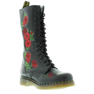 Dr-Martens-Vonda-Womens-Black-Rose-Leather-Mid-Calf-Boots-Size-3-9