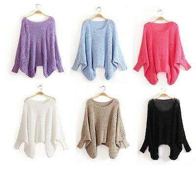 XX202 Womens  Hollow Loose Batwing Sleeve Knit Jumper Pullover Sweater SZ 10-18