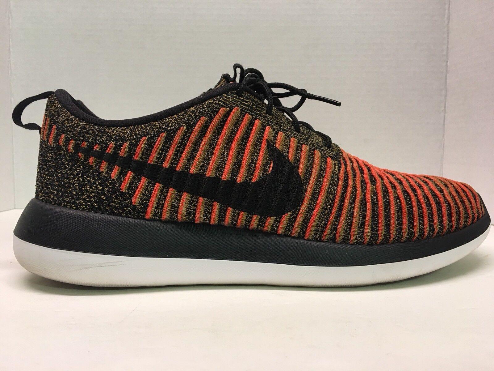 Nike Roshe Two Flyknit Flyknit Flyknit 2 mens sneakers black max orange 844833-009 Rare shoes SF 662379