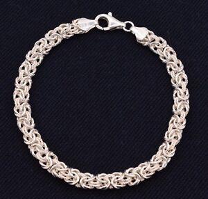 7-25-034-Italian-Diamond-Cut-Byzantine-Link-Bracelet-Sterling-Silver-925-7mm