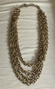 Vintage-Estate-Multi-Strand-Goldtone-ropechain-Bib-Collar-Necklace-1970-s