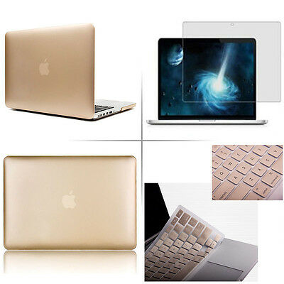 "Gold Rubberized case keyboard cover screen Macbook Pro Air Retina 11 13 15""inch"
