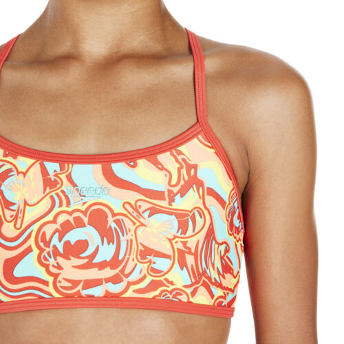 Speedo Colourmelt Allover Crop Top Tankini Girls Two Piece Swimsuit