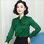 Womens-Satin-Silk-Button-Down-Blouse-Top-Bow-Tie-Neck-Shirt-Long-Sleeve-Zhou8 thumbnail 13