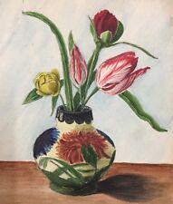 Hübsches antikes Aquarell Stillleben Blumen in Vase  signiert Coult