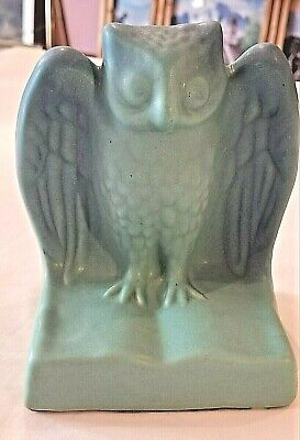 """Pottery & Glass Early Van Briggle Pottery Ming Blue Owl Bookend 4 3/4"""" W X 5 3/8"""" T X 3""""d Pottery & China"""