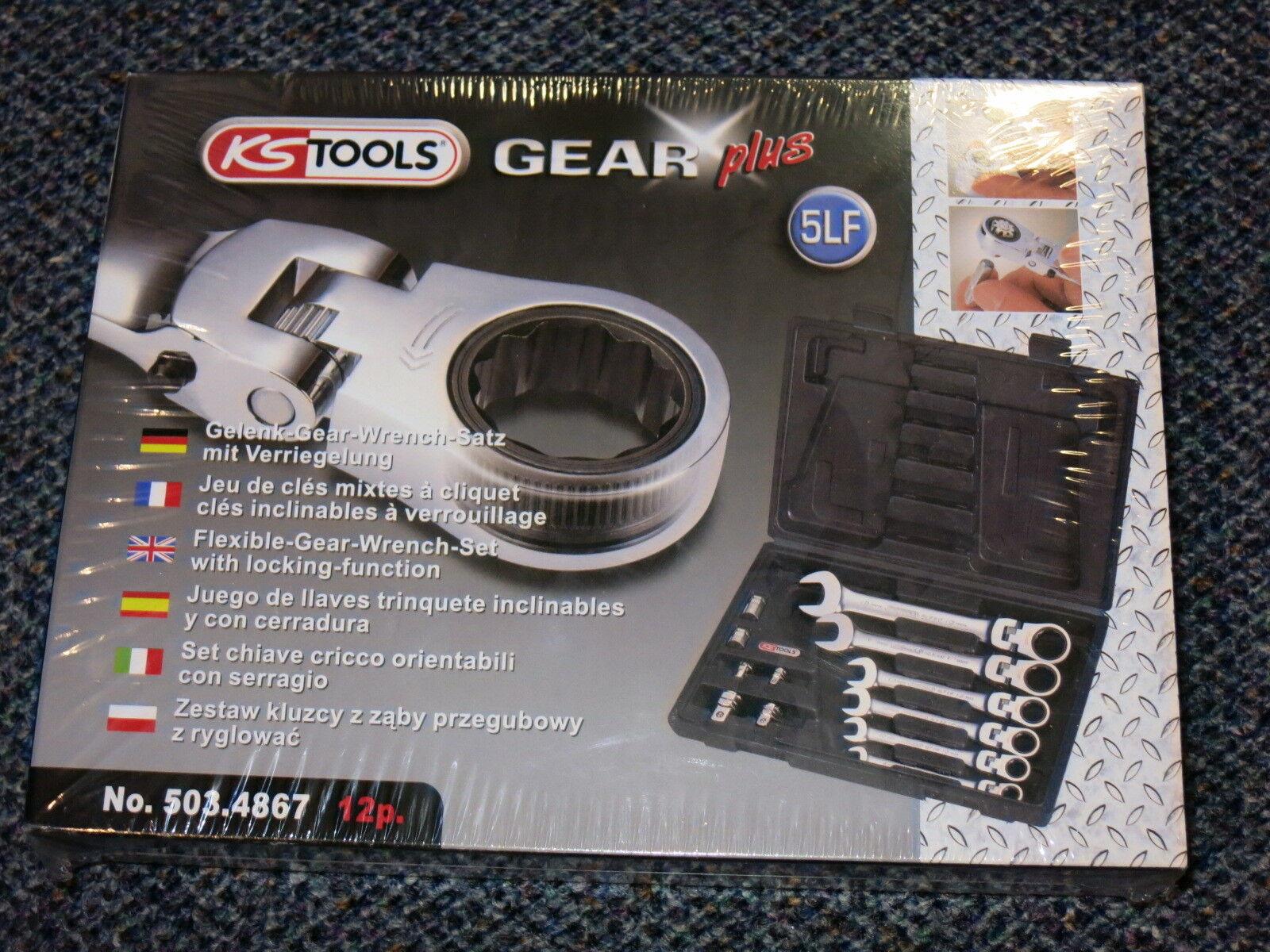 KS Tools 503.4867 GEARplus Gelenk-Ratschenringmaulschlüssel-Satz, 12-tlg.