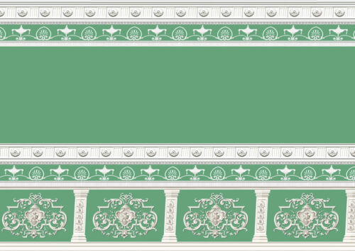 Casa De Muñecas Wallpaper Victoriano 1//12th 1//24th Escala Verde Azulado Papel de calidad # 256