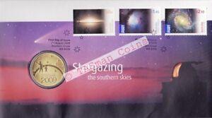 2009 Stargazing International Year Astronomy Australia FDC PNC $1 Coin Stamp Se