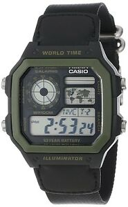 Casio-AE1200WHB-1B-Mens-Black-Green-Digital-Sports-Watch-100M-Cloth-Band-NEW