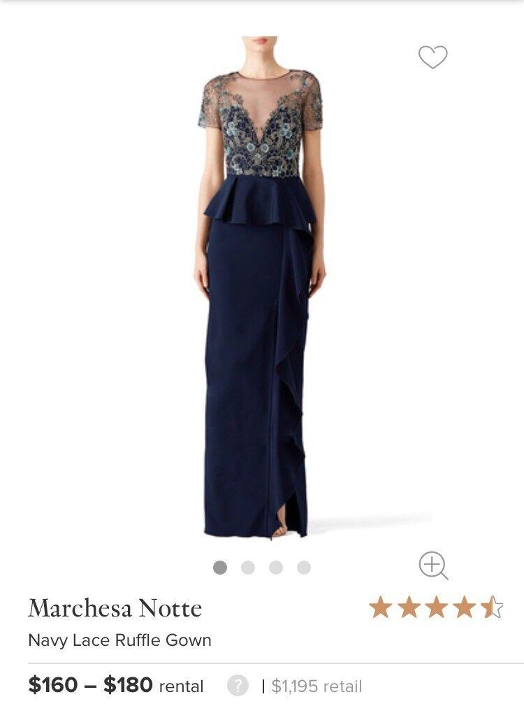 SOLD OUT Marchesa Notte Bleu Marine Sequin Haut robe de robe de taille 2