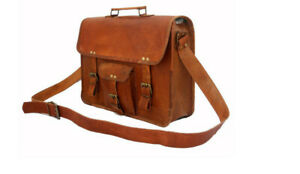 Men-Real-Goat-Skin-Leather-Vintage-Brown-Messenger-Shoulder-Laptop-Bag-Briefcase