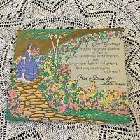 Vintage Greeting Card Easter Art Deco Pretty Woman Pastel Flowers