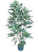 Lot Of 4 Nandina Artificial 4-foot Silk Tree Plant Leaf With Base Planter Home