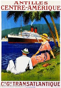 1920s Antilles Transatlantique Ocean Liner Travel Advertisement Poster Print