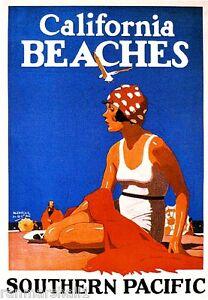 1923 California Beaches Art Travel Vintage Railroad Advertisement Poster Print