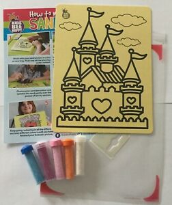 Kids-Bee-Happy-Sand-Art-Picture-craft-activity-kit-A5-Castle-with-sand-xmas