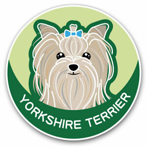 2-x-Vinyl-Stickers-7-5cm-Yorkshire-Terrier-Cartoon-Dog-Face-Cool-Gift-5987