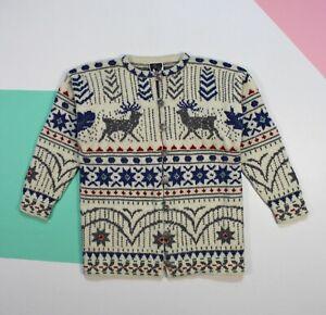 Details about Women's Dale of Norway Norwegian Wool Sweater Cardigan Deers Print (size S)
