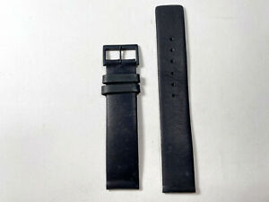 Black Leather 18 MM  Watch Strap with Black Buckle NEW