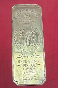 Colt Firearms Brass Door Push Plate / Plaque