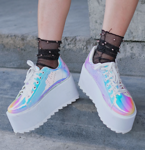 Chic Women Patent Leather Laser High Wedge Platform Creepers Lace Up Punk Shoes