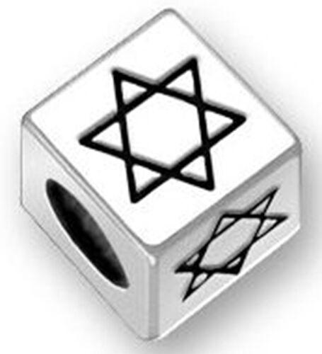Étoile de David grand trou 1 Perle Cube Argent sterling 5.4 mm a David