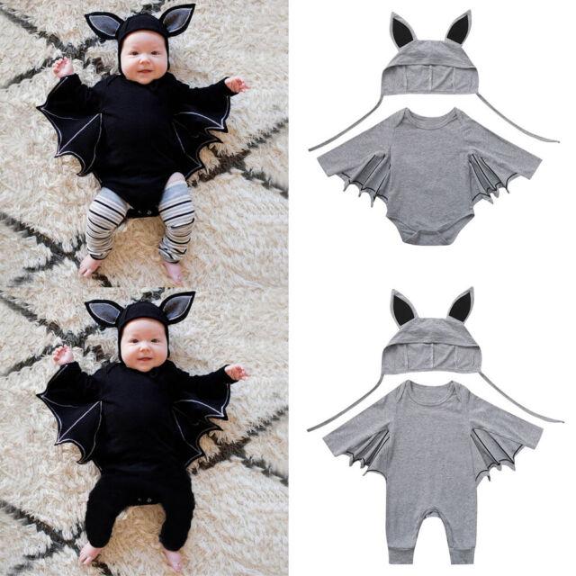 Newborn Baby Boy Girls Romper Bat Jumpsuit Hat Outfits Halloween Cosplay Costume