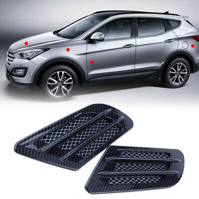 2Pcs ABS Silver Car Side Air Vent Decoration Cover Honeycomb Intake Duct Flow Gr