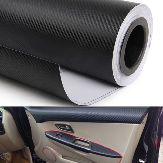 Carbon fiber vinyl wrap interior