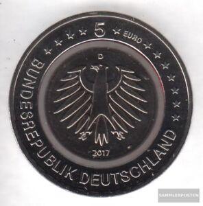 BRD-2017-D-Stgl-unzirkuliert-Auflage-450-000-Polymerring-Rot-2017-5-Euro-Trop
