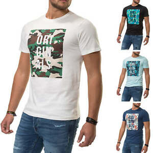 Jack-amp-Jones-T-Shirt-Hommes-Print-Shirt-Homme-Shirt-Manches-Courtes-Top-Color-Mix-SALE