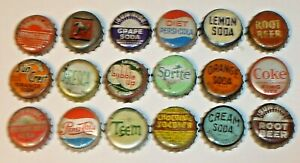 Vintage Lot 18 Different Cork Lined Soda Pop Bottle Caps Teem, Chocolate Soldier