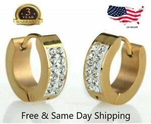 Men-039-s-Women-039-s-Unisex-Stainless-Steel-Rhinestone-Charm-Hoop-Huggie-Earrings-2PCS